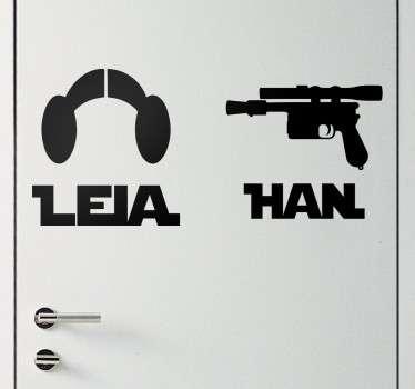 Muursticker Leia en Han