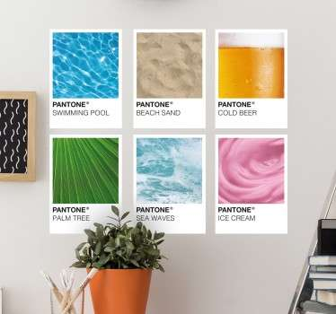 Bring the spirit of summer right into your home with this original decorative wall sticker featuring the Pantone colours of summer!