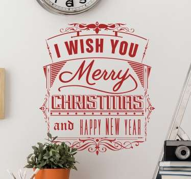 "Retro muursticker met de tekst ""I wish you a merry christmas and a happy new year"". Kleur en formaat aanpasbaar. Ervaren ontwerpteam."