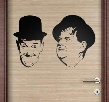 This decorative wall sticker features the silhouettes of the famous american silent movie kings Laurel and Hardy.