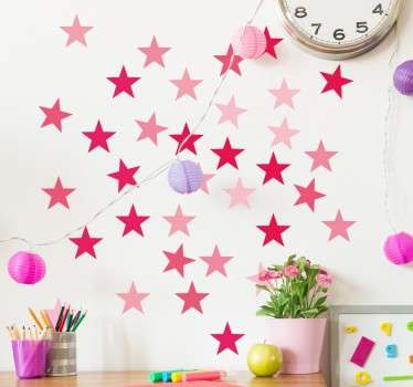 розовые звезды наклейки стены
