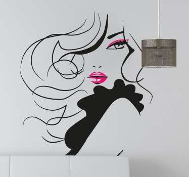 Glamorös kvinna dekorativa vägg klistermärke
