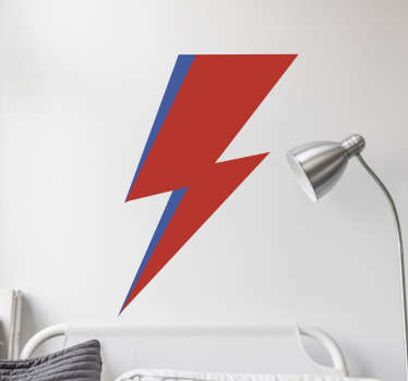 Adesivi David Bowie con una rappresentazione del famoso fulmine che appare sul suo volto nel suo sesto album Aladdin Sane.
