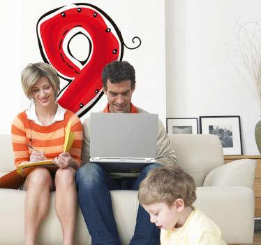 Numeri adesivi bambini numero nove
