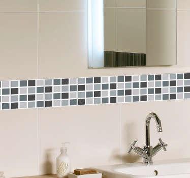 Grey Tones Square Tiles Border Sticker