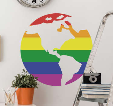 Show your support for the LGBT community with this wall sticker. The sticker consists of the globe covered in the colours of the gay pride flag.