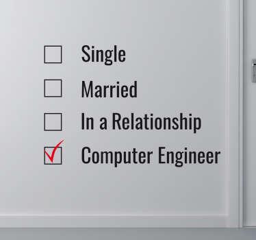 Adesivo decorativo ingegnere informatico