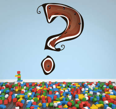 Decorative sticker of a question mark in brown. A great decal to give your child´s room a mysterious decoration.