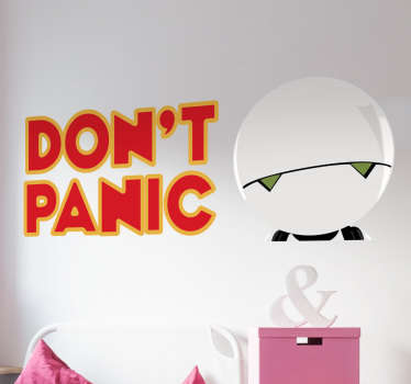 Decorative cinema theme wall sticker design ed of a robot wit the text '' don't panic''. It is available in any size required.