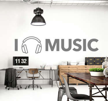 I love music wall sticker. This great text wall sticker is perfect for people who love listening to and creating music. The love part of the text is cleverly replaced with a pair of headphones.