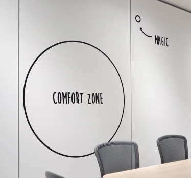 Get out of your comfort zone wall decal that inspires and motivates people towards success. Part of our wall stickers for office collection.