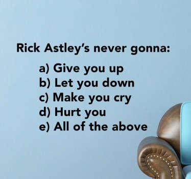Muursticker Rick Astley
