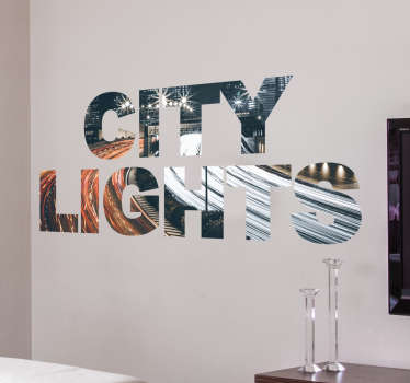City Lights Wall Sticker. The sticker shows a filmed highway moving so fast that the front and rear lights of cars are blurred.