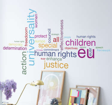 Vinilo decorativo conceptos derechos humanos