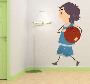Kids Stickers - A child playing basketball. Choose your size to personalise your sticker. Decals ideal for decorating kids bedrooms or play areas.