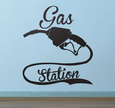 "Decorate your business with this Gas station sticker. The wall sticker consists of a petrol pump with the text ""Gas Station"" written beside it."