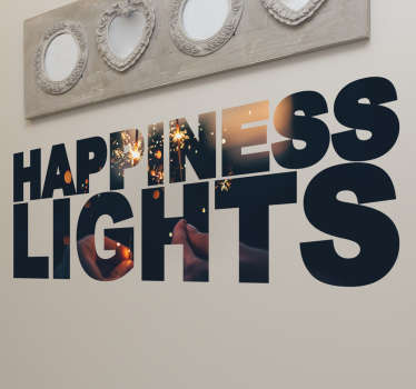 Happiness lights Wall Sticker. The letters are filled with two hands holding sparklers with lights in the background.