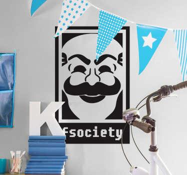 Adesivi serie tv con una rappresentazione del logo di una comunità di hacker fittizia della serie statunitense Mr. Robot.
