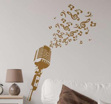 Autocolante decorativo microfone notas musicais