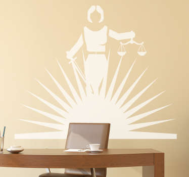 Simple but effective legal wall sticker showing a monochrome design of Lady Justice being lit by rays of light from below, perfect for decorating any office or law firm to give a more professional atmosphere.