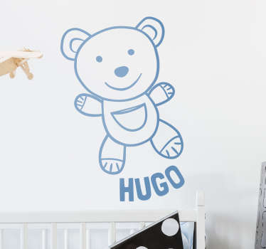 This wall sticker consists of a cute Teddy Bear smiling, with the personalised name located below the teddy.