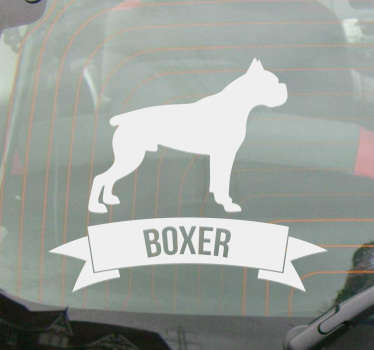 This silhouette wall sticker consists of a boxer dog. Under the dog is a banner with the name of the breed (Boxer).