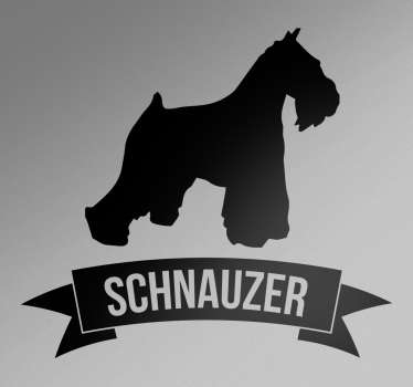 This silhouette wall sticker consists of a schnauzer dog. Under the dog is a banner with the name of the breed (Schnauzer).