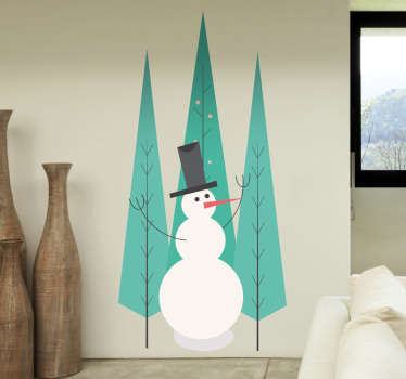 The wall sticker consists of a snowman waving his stick arms in a forest.