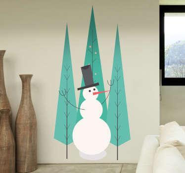bonhomme de neige et sapins