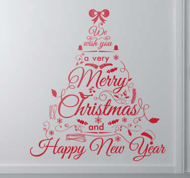 Muursticker Beste Wensen In Vorm Van Kerstboom