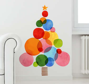 Colourful Christmas Tree wall sticker perfect for decorating your living room, dining room or bedroom during the Xmas holidays. This vibrant tree wall sticker is made up of multiple different coloured circles and a star.