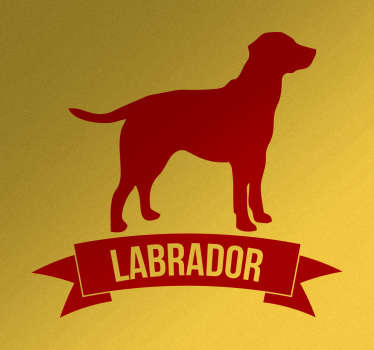 "his simple decorative wall sticker featuring the silhouette of a Labrador dog above a ribbon banner with the text ""Labrador"""