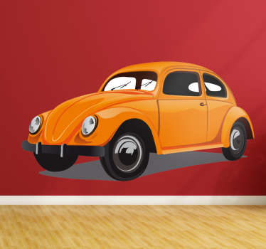 Volkswagen Beetle wall sticker. This sticker consists of the classic VW beetle which is recognised all over the world.