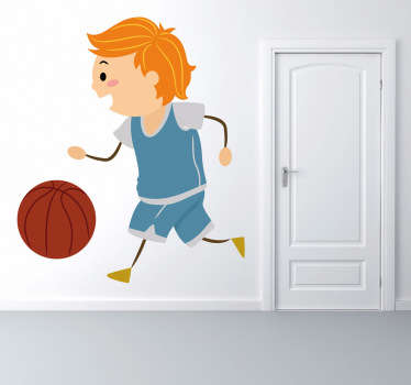 Little Boy Playing Basketball Kids Sticker