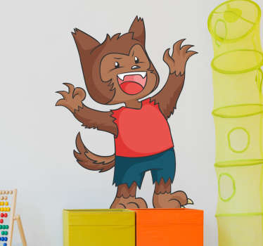 Baby wolf wall sticker with torn pants and red T-shirt. This wall decoration is a nice addition to your child's bedroom.