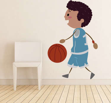 Happy Basketball Player Kids Sticker