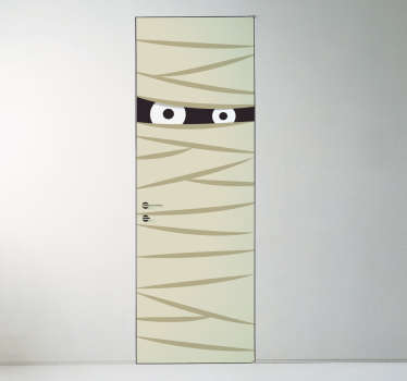 Mummy door sticker perfect for Halloween. The sticker covers the door and consists of a mummy wrapped in bandages