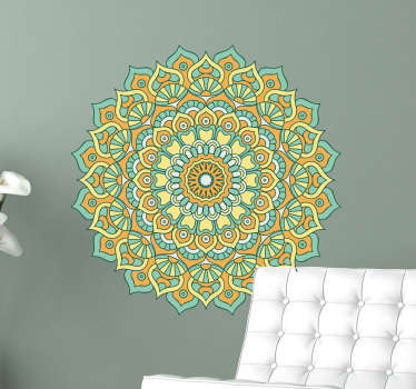 Wall Decal of a pretty floral mandala. A very colourful addition to your wall. Nice wall decoration for people who love mandala flower designs.