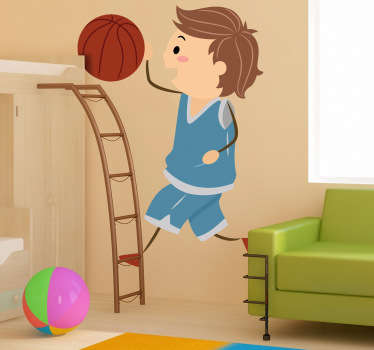 Sticker jongen dribbelen basket