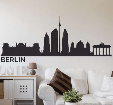 This is a silhouette wall sticker of the Berlin city skyline, with all the infamous buildings