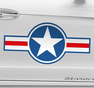 The wall sticker is of the US air force military logo, recognised as an iconic symbol of the US army over the years.
