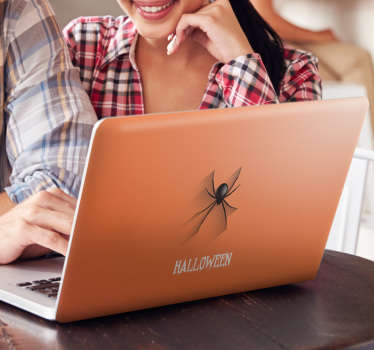Protect your laptop from dust and scratches with this cool Halloween laptop sticker. This sticker consists of a spider crawling down your laptop