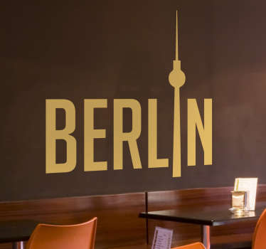 "This wall art consists of ""Berlin"" written in a bold font while the letter ""i"" is replaced with the fernsehturm de Berlin tower."