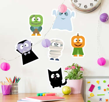 The collection of stickers consists of a young, Frankenstein, ghost, cat, pumpkin, Dracula and mummy.