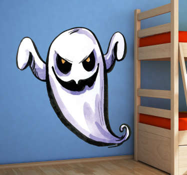Scare your kids this Halloween with this frightening ghost wall sticker. Perfect for decorating your front window or front door this Halloween.