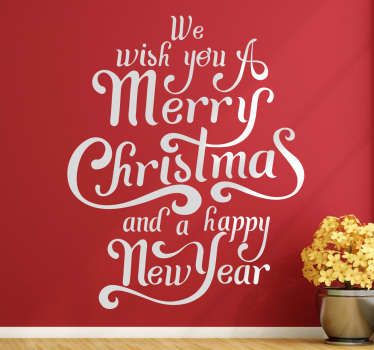 Get ready for the festive period with this fantastic wall art.The wall sticker consists of the text We wish you a merry Christmas and a happy new year