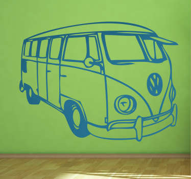 Silhouette drawing wall sticker of a Volkswagen bus to decorate any flat surface in style. It is available in various colour and size options.