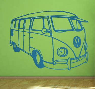 Silhuett ritning vägg klistermärke av en volkswagen buss för att dekorera alla plana ytor i stil. Det finns i olika färg- och storleksalternativ.