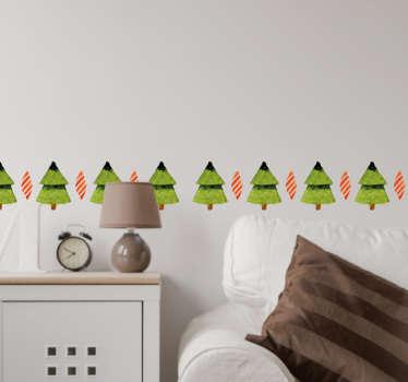Naklejka świąteczna zestaw choinek