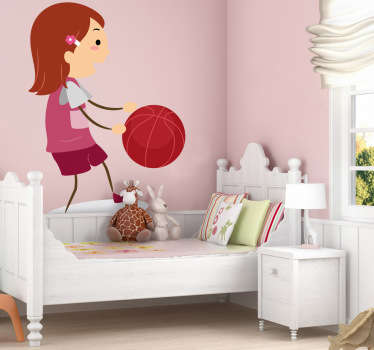 Girl with Basketball Kids Decal
